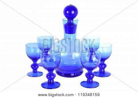 Blue Glasses And Decanter
