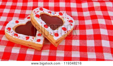Heart Cookies On The Red Table Cloth