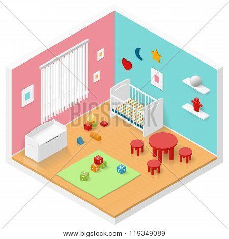 Child Playroom Isometric Icon Set