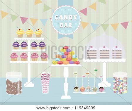 Vector illustration of Candy Bar. macaroons, cupcakes, chocolate, cakes