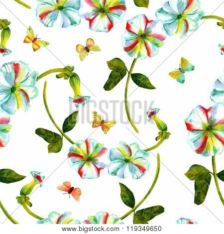 Seamless Background Pattern With Watercolor Hollyhocks And Butterflies