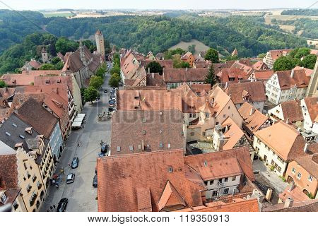 ROTHENBURG OB DER TAUBER GERMANY - AUGUST 10, 2015: Aerial view of Rothenburg ob der Tauber from the Town Hall Tower in Bavaria Germany. It is one of the best-preserved medieval towns in Europe.