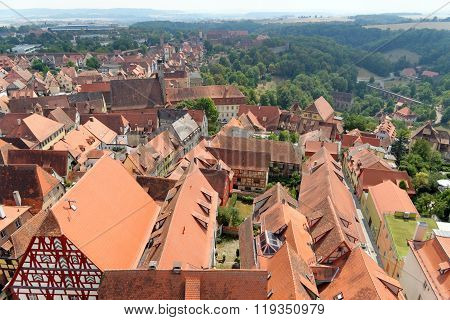 Aerial view of Rothenburg ob der Tauber from the Town Hall Tower in Bavaria Germany. It is one of the best-preserved medieval towns in Europe part of the famous Romantic Road tourist route.