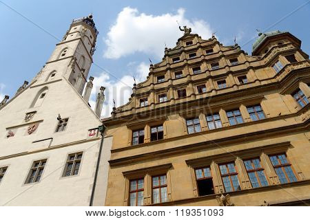 The Gothic and Renaissance part of the historic Town Hall (Rathaus) in Rothenburg ob der Tauber in Germany situated on the Marktplatz square. It is one of the finest in southern Germany.