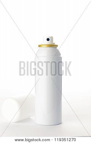 Metallic Spray Bottle On The White Background