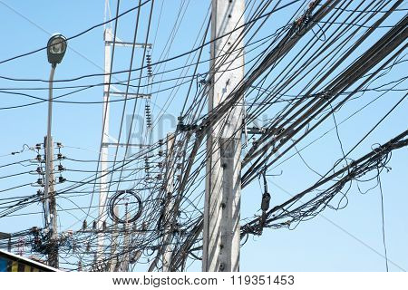 Chaotic electric wiring in Thailand