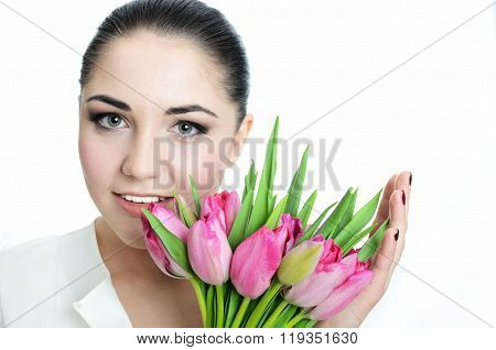 Happy Bride With Veil And Tulips