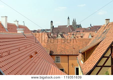 Roof tops of Rothenburg ob der Tauber Germany. It is one of the best-preserved medieval towns in Europe part of the famous Romantic Road tourist route.