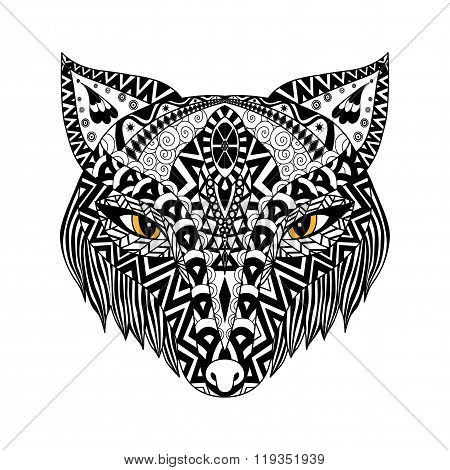 Black Fox zentangle style for t-shirt or print or coloring book