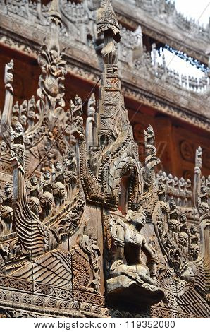 Carvings On Top Of Shwenandaw Kyaung Temple In Mandalay