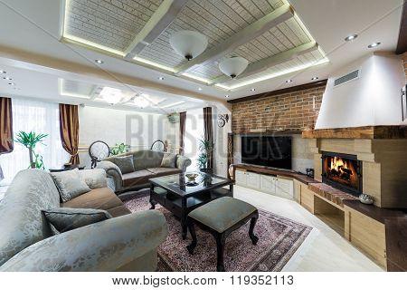Superb living room interior in retro style