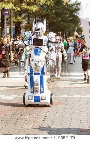 Person In Mobile Robot Costume Participates In Dragon Con Parade