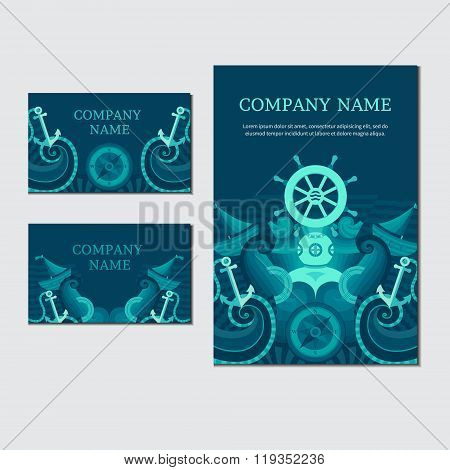 Vector Sea Card. Marine Identity