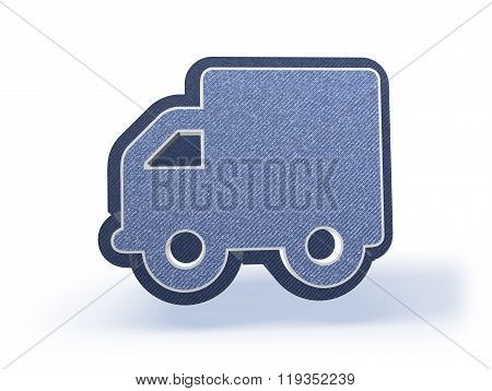 Truck Shopping Icon In Blueish Denim Look