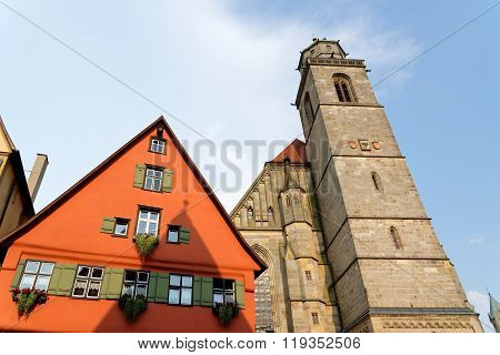 The Church of St. George in Dinkelsbuhl Bavaria Germany. It is a masterpiece in the Gothic style of the late 15th century by Nikolaus Eseler.