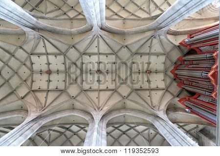 DINKELSBUHL GERMANY - AUGUST 10 2015: The interior of the Church of St. George in Dinkelsbuhl Bavaria. It is a masterpiece in the Gothic style of the late 15th century by Nikolaus Eseler.