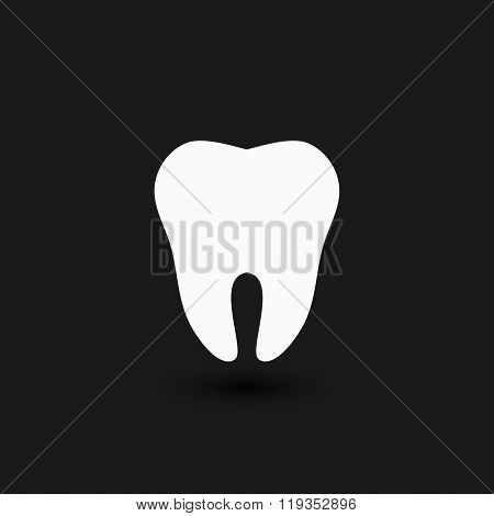Tooth Logo. Tooth Icon. Vector Tooth. White Tooth On A Black Background.