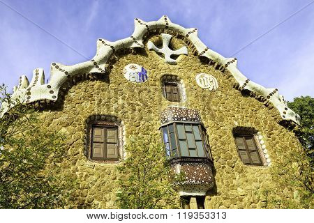 Facade View Of Gingerbread House Of Architect Gaudi And Park Guell