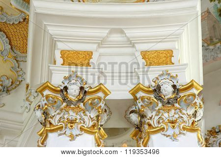 STEINGADEN GERMANY - AUGUST 11 2015: Interior detail of Wieskirche - the famous pilgrimage Church of the Scourged Saviour near Steingaden in BavariaGermany - an UNESCO world heritage site.