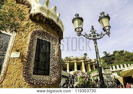 Facade View Of Gingerbread House Of Architect Gaudi In Park Guell