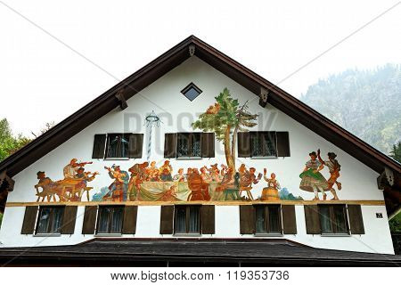SCHWANGAU, GERMANY - AUGUST 11, 2015: Beautifully painted house in the Bavarian Alps near Neuschwanstein castle in Germany.