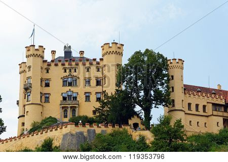 Hohenschwangau Castle in the Bavarian Alps Germany.