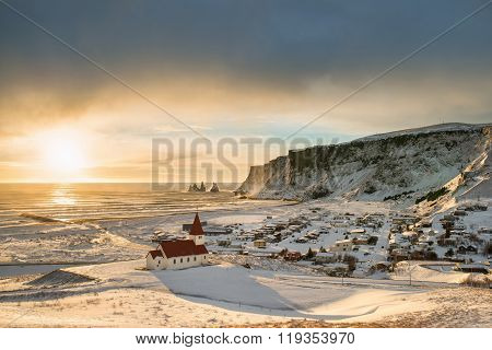 View of Vik city near the Reynisfjara coast on winter Iceland