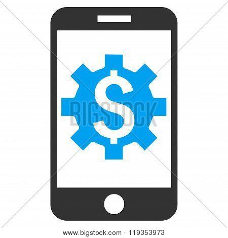 Mobile Bank Setup Flat Vector Icon