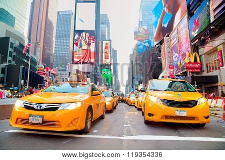 Yellow Cabs At Times Square In The Morning