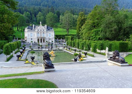 OBERAMMERGAU, GERMANY - AUGUST 11, 2015:Linderhof Palace - the smallest of the three palaces built by King Ludwig II in Bavaria and the only one which he lived to see completed.