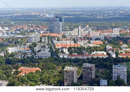 Aerial view of Munich, Bavaria, Germany .