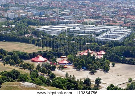 Aerial view of Munich Germany from the 291 m high tower (Olympiaturm).
