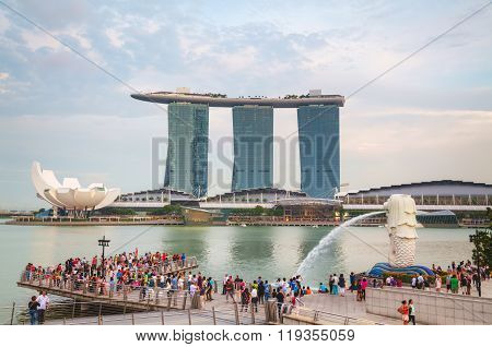 Overview Of The Marina Bay With The Merlion And Marina Bay Sands In Singapore