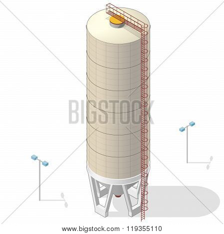 Grain silo, isometric ochre building infographic on white background.