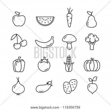 Fruit and vegetables icons set - flat design. Healthy lifestyle. Eco, organic fruit and vegetables.