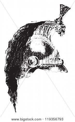 Dreadnaught Helmet, vintage engraved illustration. Dictionary of words and things - Larive and Fleury - 1895.
