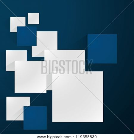 Abstract white and blue squares vector background.