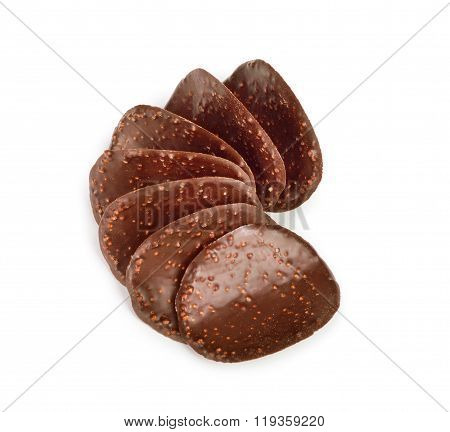 Chocolate Chip On White Background
