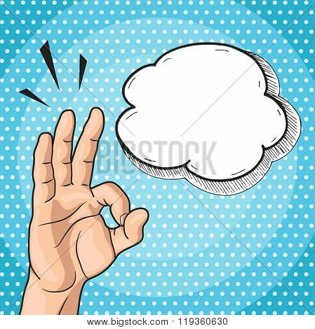 Man showing OK hand sign in pop art comic style vector OKAY hand gesture with text bubble