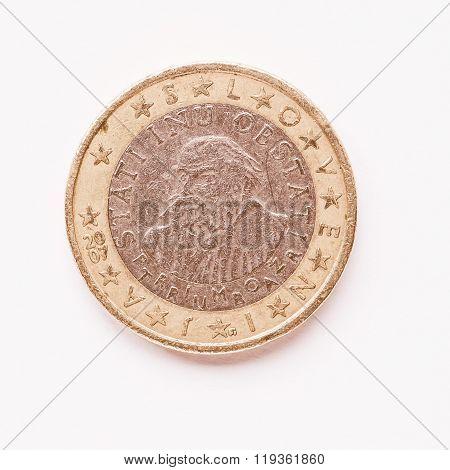 Slovenian 1 Euro Coin Vintage