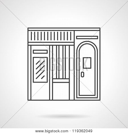 Music store facade flat line vector icon