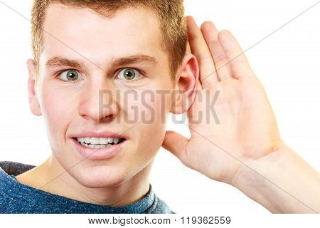Gossip Boy With Hand Behind Ear Spying
