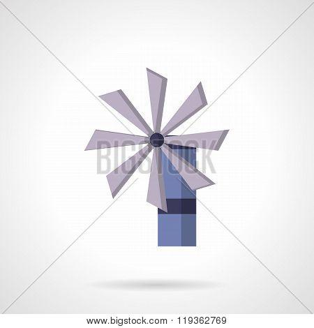 Purple wind turbine flat design vector icon