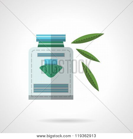 Herbal medicine flat color design vector icon