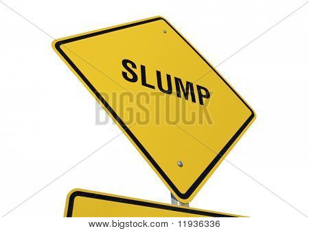 Slump Yellow Road Sign against a White Background
