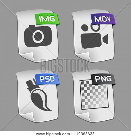 Icons of files Collection. Vector illustration