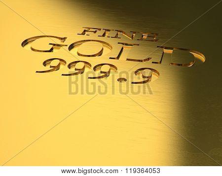 gold ingot detail 3d image