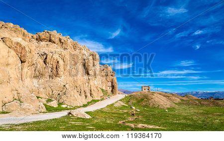 View of Naqsh-e Rustam necropolis in Iran