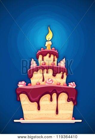 Birthday cake with candle and chocolate cream. Vector illustration. Transparent objects used for lights shadows drawing