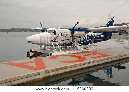 PULA, CROATIA - FEBRUARY 22, 2015:  DHC-6 Twin Otter seaplane of European Coastal Airlines. ECA operates scheduled seaplane services in Croatia.
